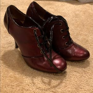 Dark red booties with patent leather laces
